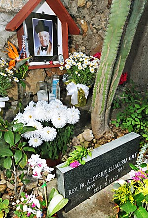 Father Aloysius Ellacuria, whose life and healing ministry is remembered by family and friends of the Claretian Missionaries, is buried at the San Gabriel Mission. Ellacuria, who died April 6, 1981, at the age of 76, is the subject of a recent petition to open a cause of beatification and canonization. The petition was brought before Archbishop Jose Gomez of the Catholic archdiocese of Los Angeles. (SGVN/Staff Photo by Walt Mancini)