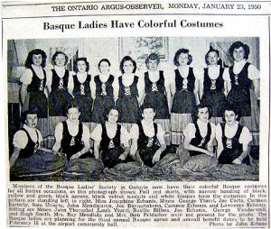 l grupo fundador del Ontario Basque Ladies Club (1950)