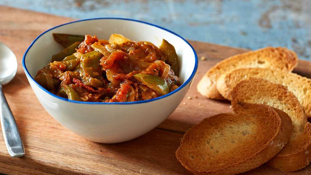Piperade is one of many traditional Basque recipes that feature green peppers. Credit Melina Hammer for The New York Times