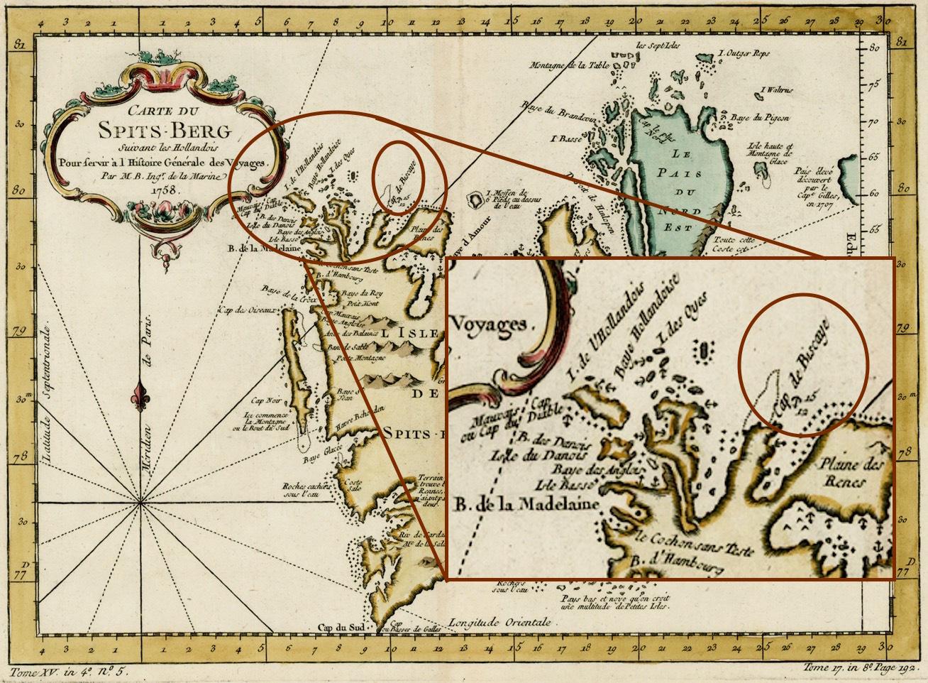 Cabo de Bizkaia en la isla de Spitzbergen (Océano ärtico)
