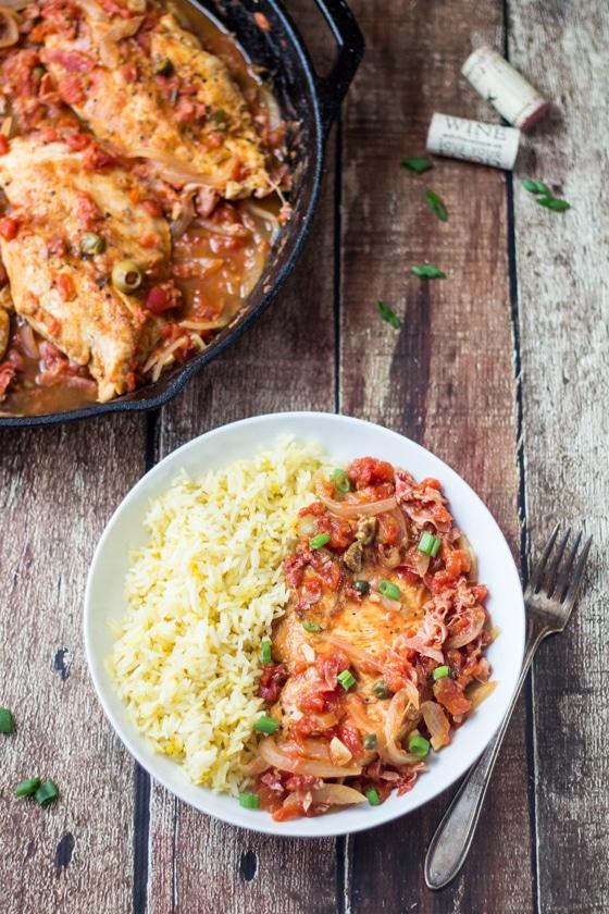 The Wanderlust Kitchen -  Spicy Basque Chicken with Saffron Rice