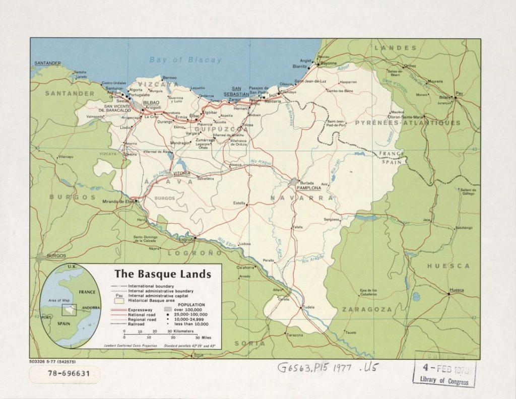 """The Basque lands"". Mapa de la CIA, 1977 (Libreria del Congreso USA)"