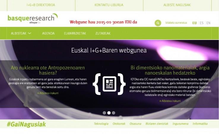 Ultima portada de la web Basque Research