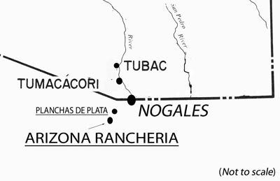 Courtesy image This map, illustrating portions of southern Arizona and northern Sonora, shows the approximate location of the famous 1736 silver discovery called Planchas de Plata and a nearby rancheria named Arizona.