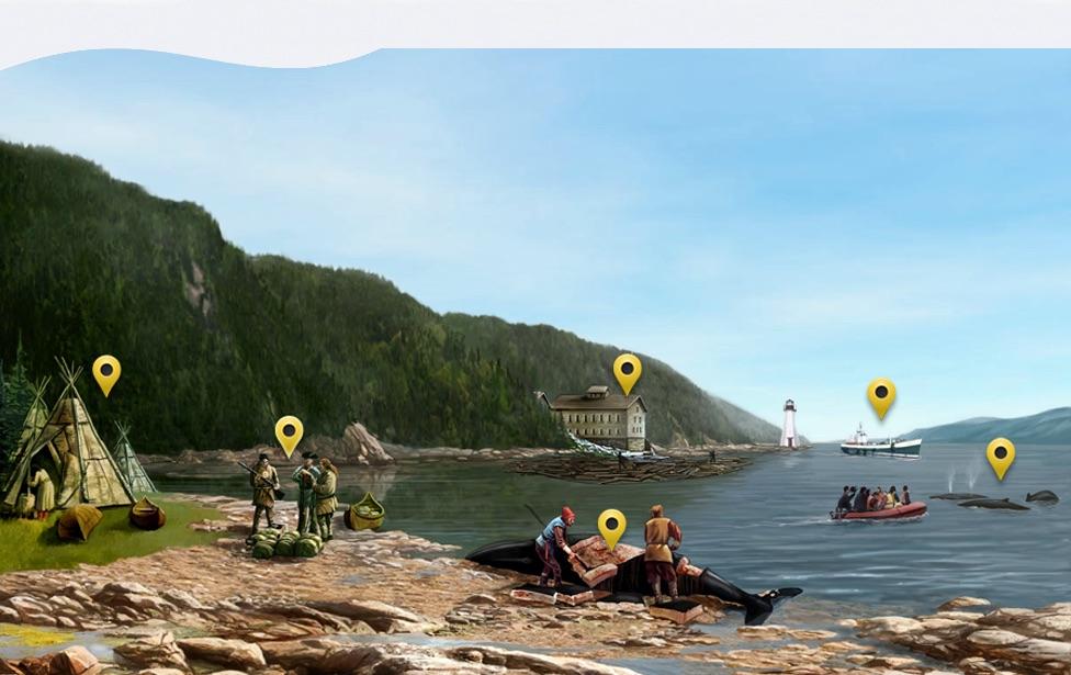 Illustration représentant un établissement côtier destiné à la fonte des graisses de baleines. (fuente Encyclopédie du patrimoine culturel de l'Amérique française )