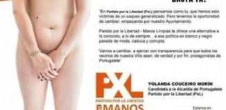 La candidata del partido ultraderechista PxL desnuda en su cartel electoral