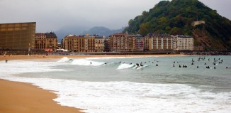 Donostia surfing in the rain