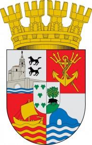 Escudo de Ciudad Constitución (Chile). Antes Nueva Bilbao de Gardoqui, donde se mantiene la referencia a Bilbao