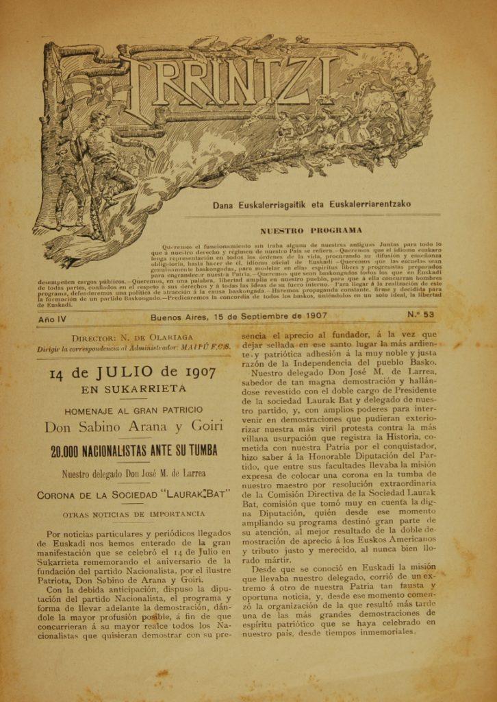 Articulo en  Irrintzi sobre el homenaje a Sabino Arana en 1907
