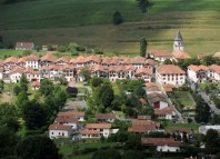 A view of Basque village Ainhoa near the 'La Rhune' mountain, southwestern France, on August 14, 2013. AFP PHOTO / GAIZKA IROZ
