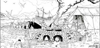 Imagén de balleneros vascos en Islandia a principio del siglo XVII