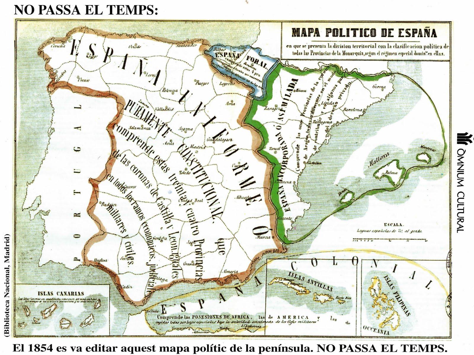 Mapa político de España de 1854