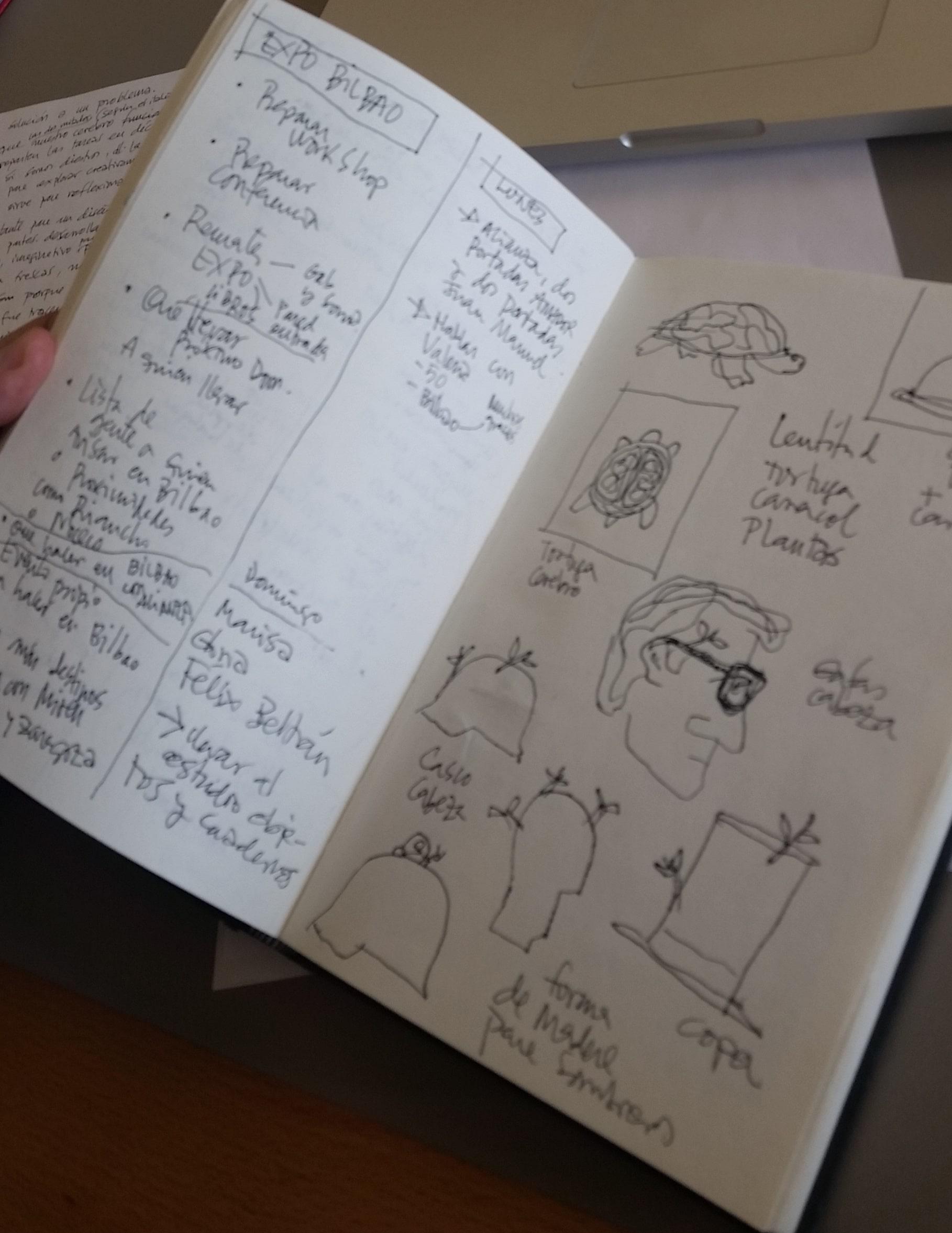 Uno de los cuadernos de trabajo exposicion que podemos ver en la exposición de Manuel Estada