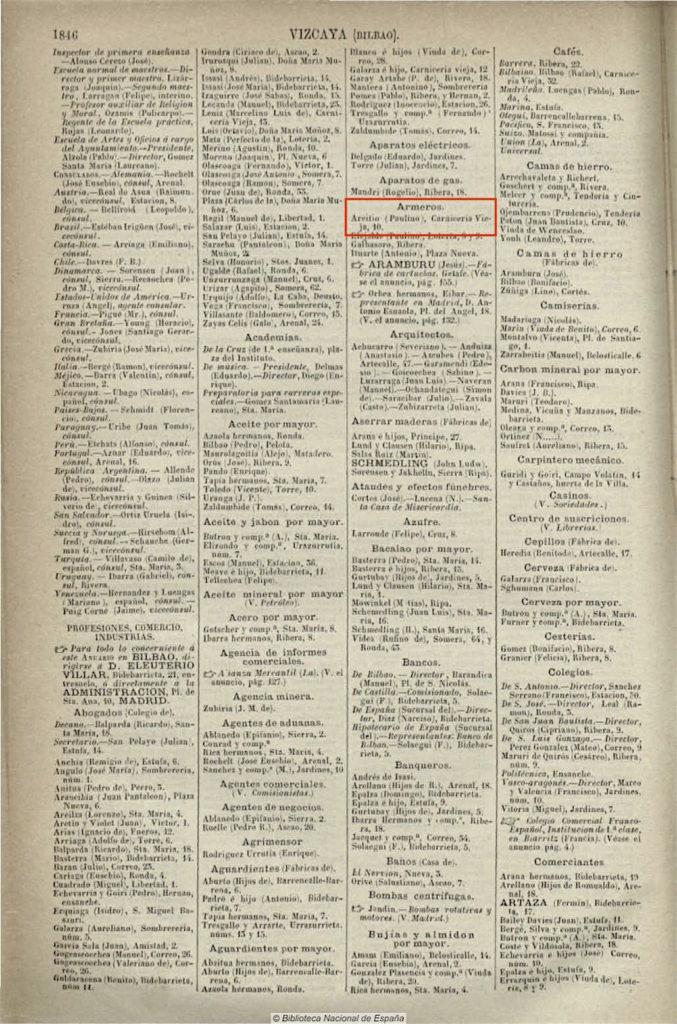 Paulino de Areitio armagina Bilbon (1886)
