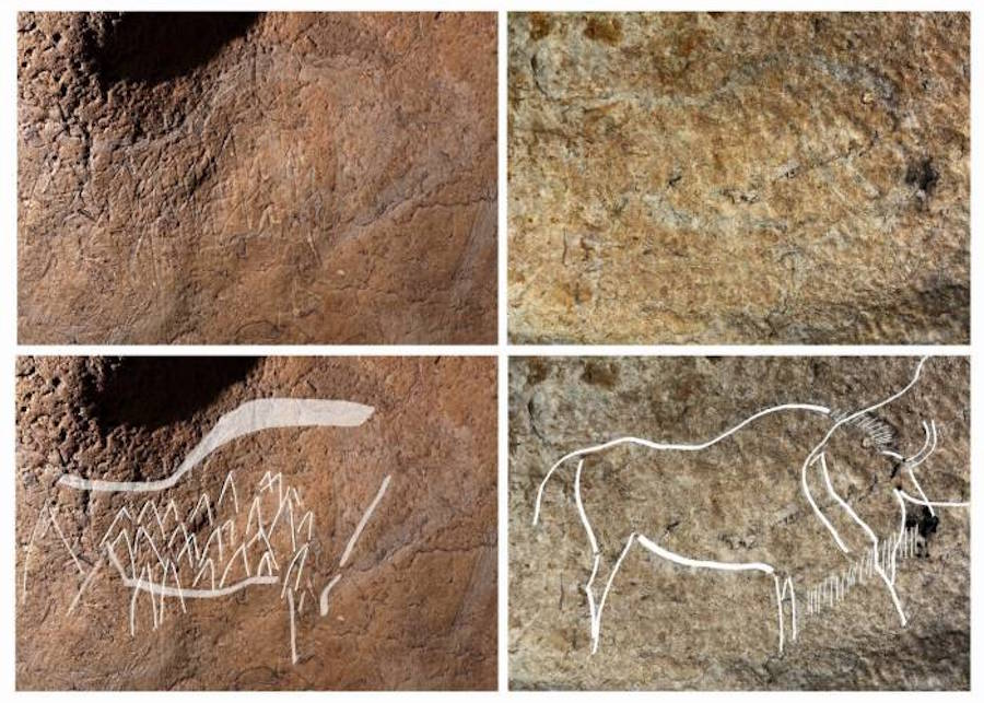 Some examples of the prehistoric etchings found on the walls of Atxurra cave.