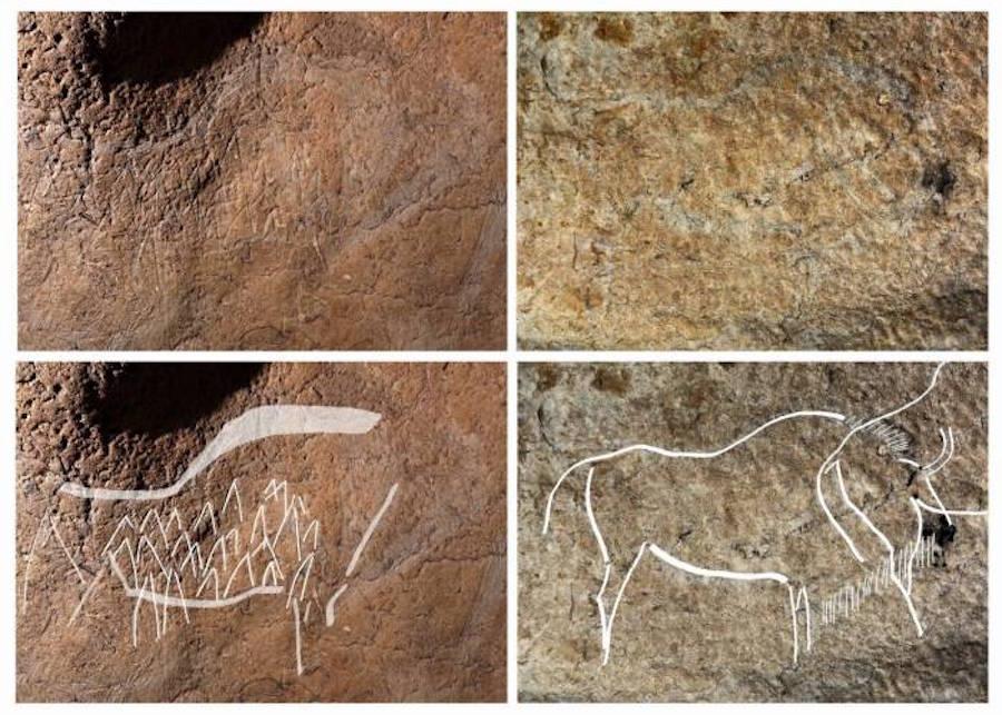 Algunos ejemplo de los grabados prehistóricos encontrados en las paredes de la cueva de Atxurra
