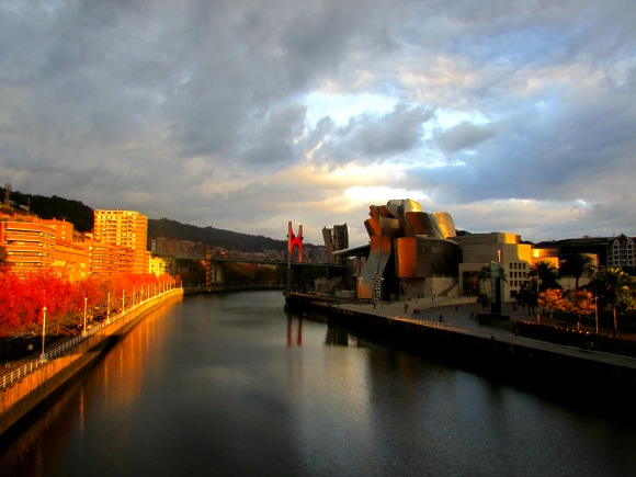 The Bilbao Guggenheim Museum, finished on time and on budget.  Photo courtesy Tanama Tales
