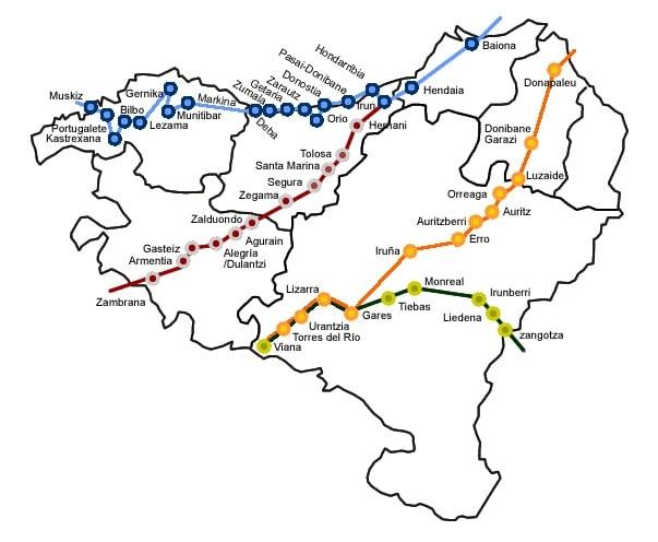 Routes of the Camino de Santiago by Euskalherria. An interactive image from Euskonews