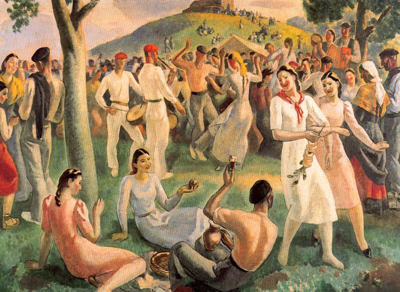 "A representation of a Basque ""romería"" by Aurelio Arteta.  The music you hear here, like the music that was heard in the halls of Versailles, was Basque."