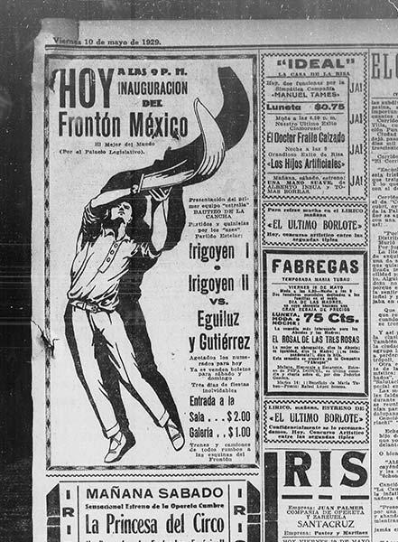 Anuncio de la inauguración del Frontón México en 1929