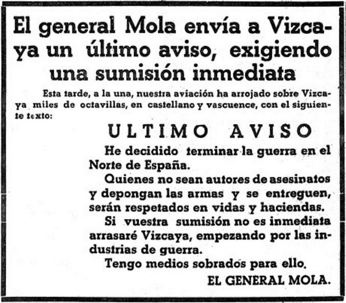 Aviso del insurrecto Mola a los bizkainos