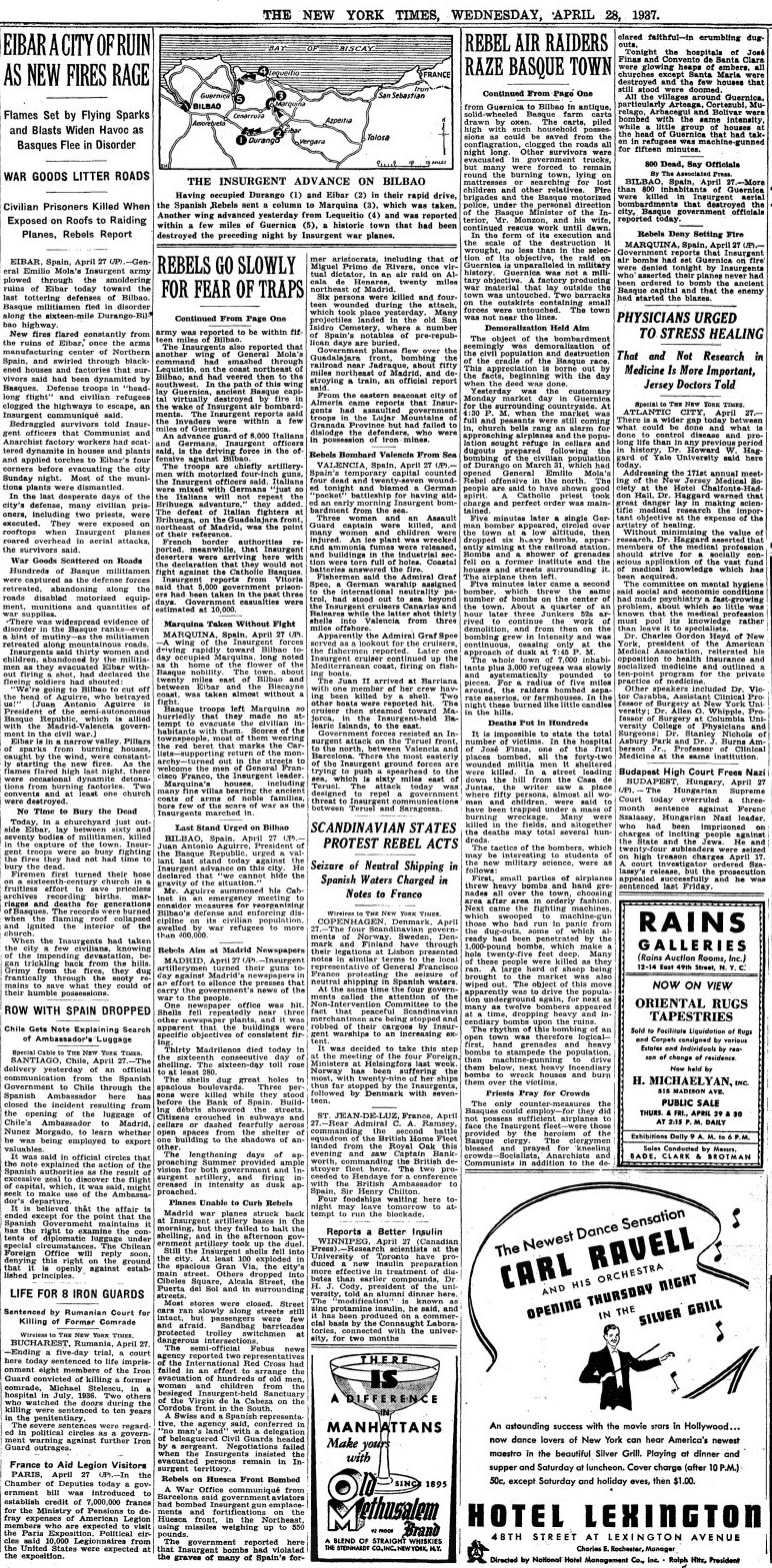 George L. Steer's chronicle in 'The New York Times', April 28, 1937.  On page 4.