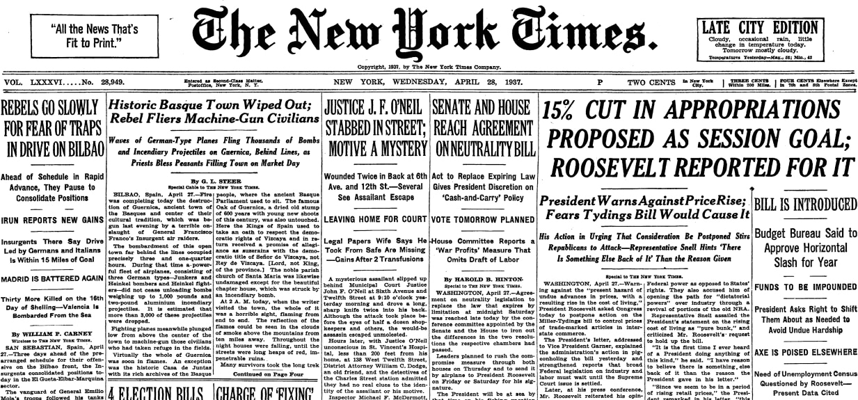 George L. Steer's chronicle in 'The New York Times', April 28, 1937.  On the cover