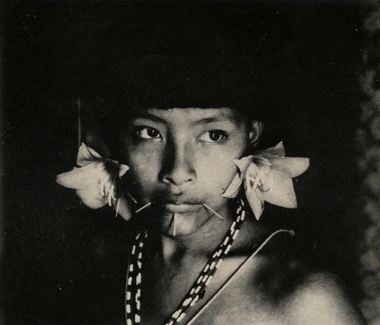 Mujer Sanemá-Yanoama con sus adornos. Daniel de Barandiarán Vida y muerte entre los indios sanemá-yanoama Antropológica n° 21, diciembre de 1967