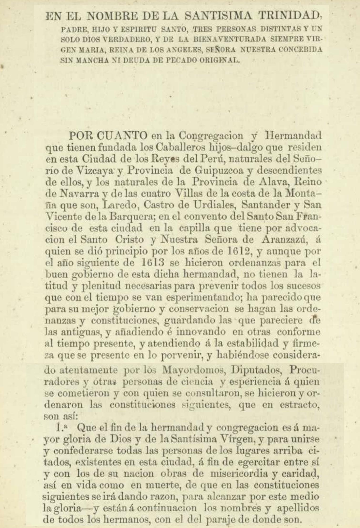 Primera página de laconstitución de la Hermandad nuestra Señora de Aranzazuen Lima
