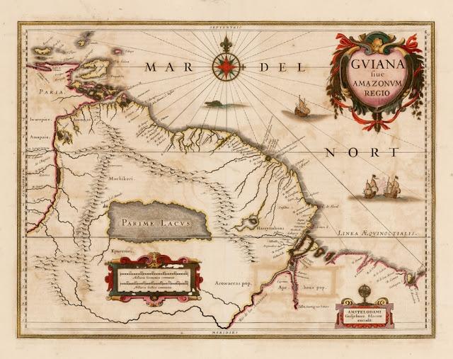 Mapa ficticio Lago Parima, donde las leyendas ubicaba Manoa
