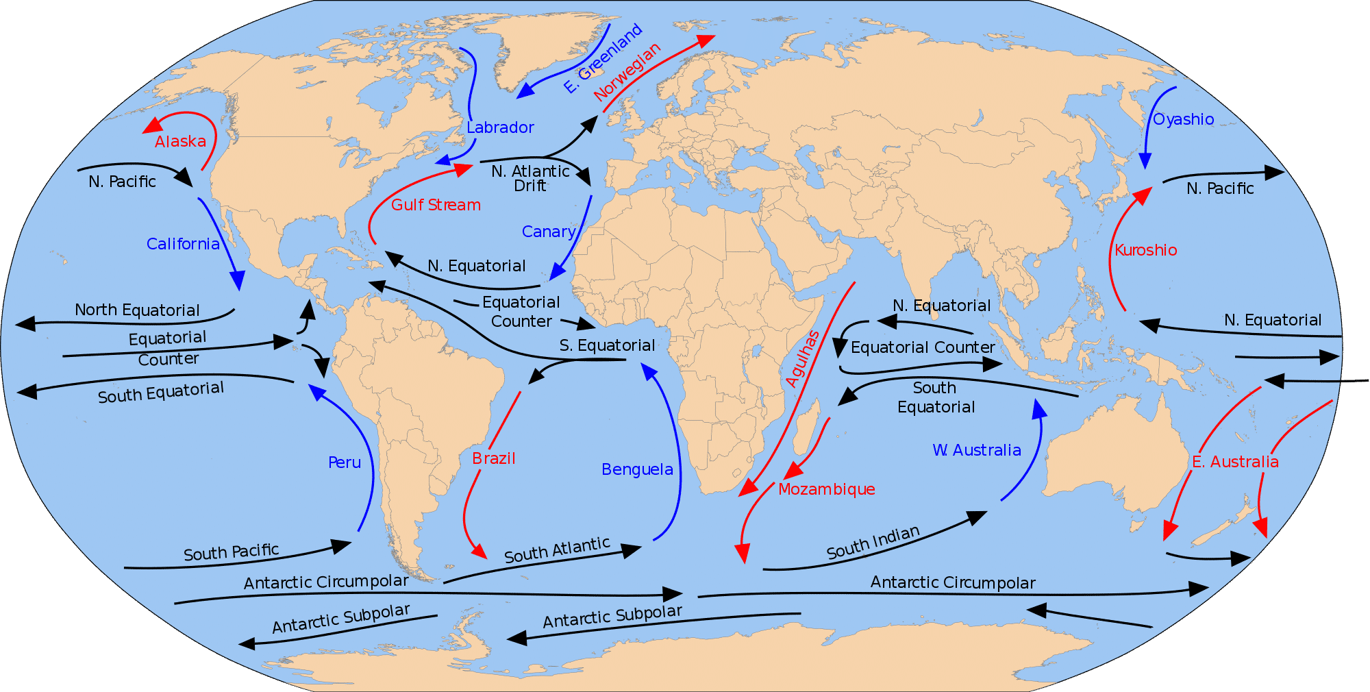 Map of oceanic currents