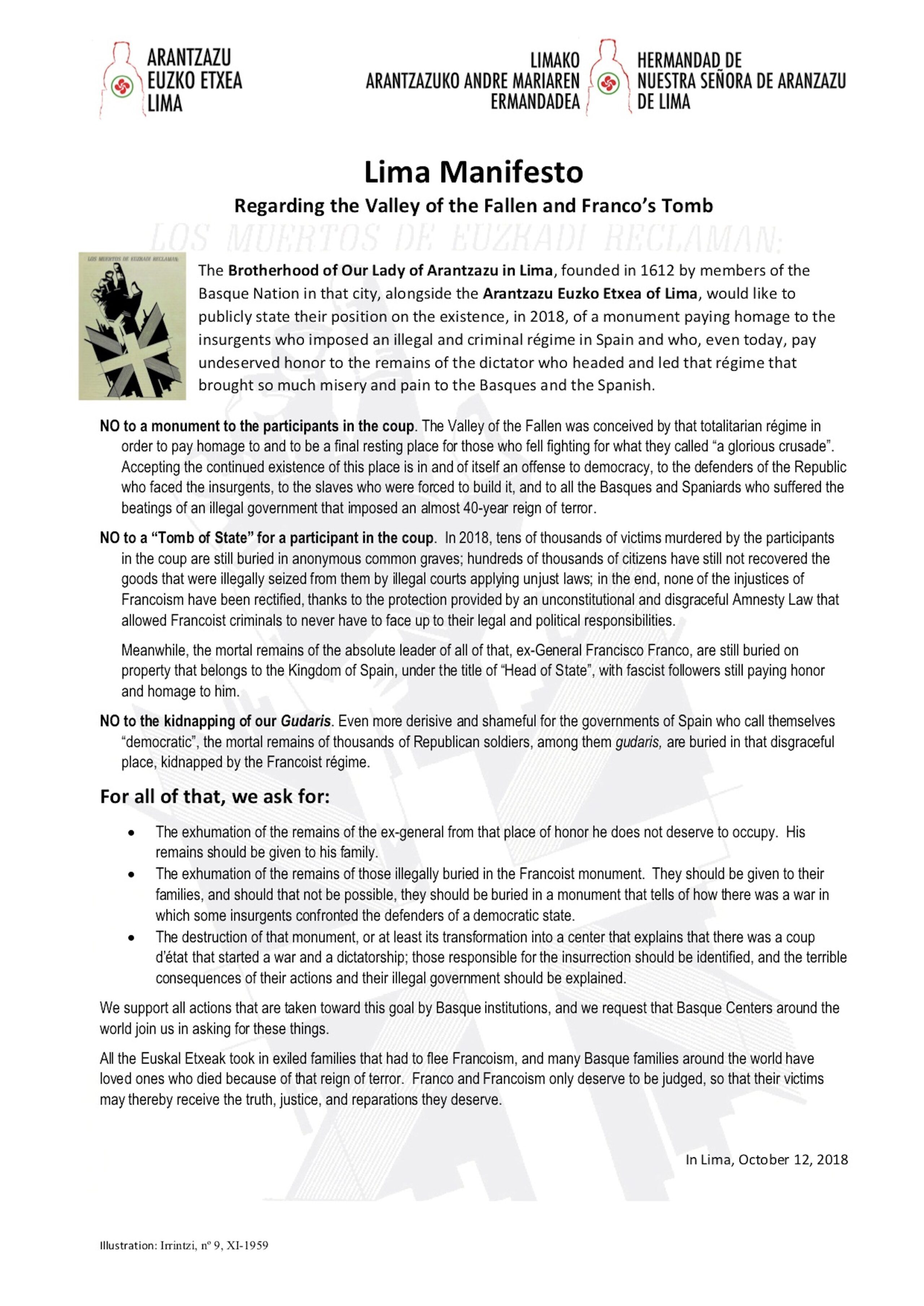 Lima Manifesto Regarding the Valley of the Fallen and Franco's Tomb
