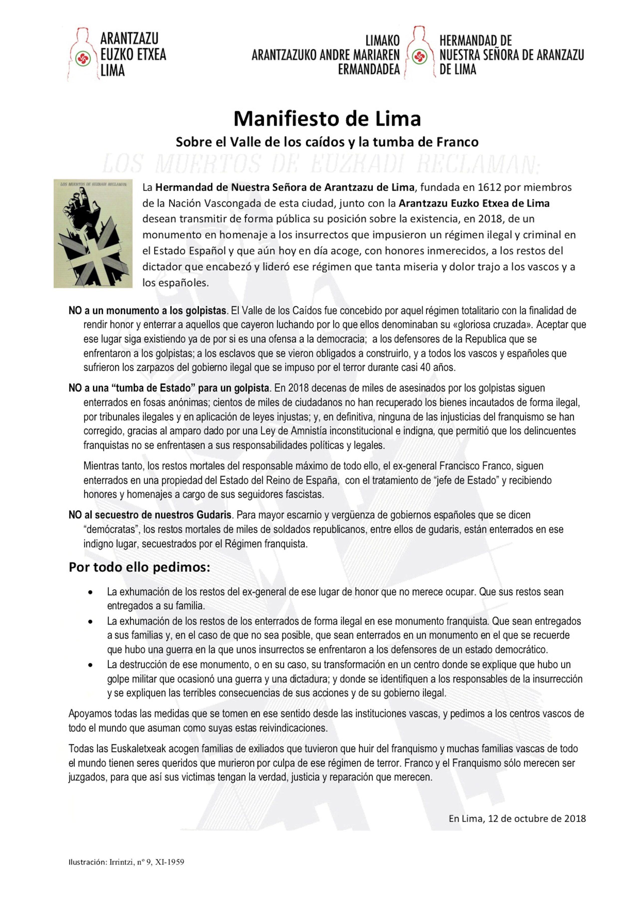 Manifiesto de Lima Sobre el Valle de los caídos y la tumba de Franco