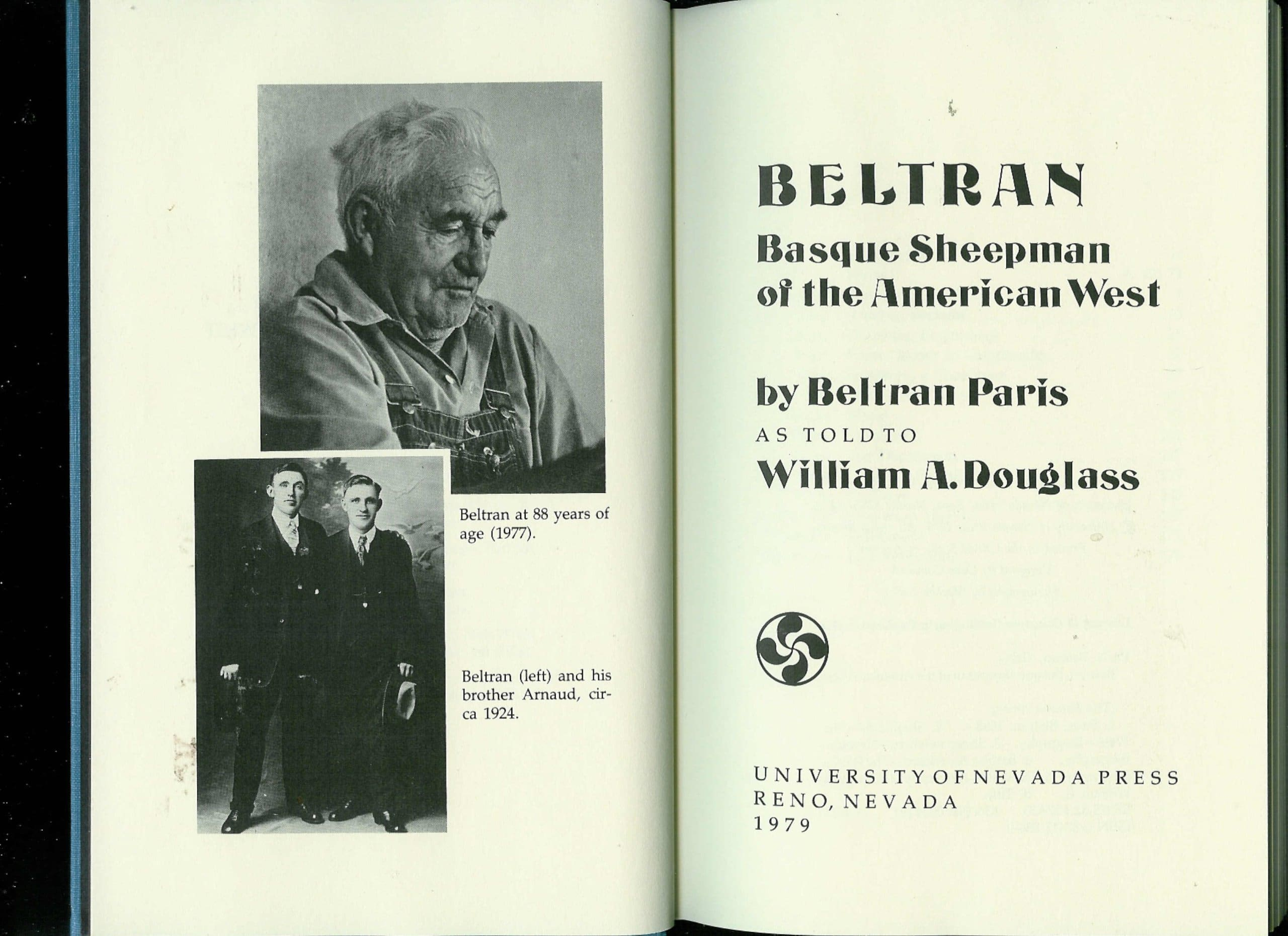 Beltran: Basque Sheepman of the American West Hardcover – Jan 1 1981 by Beltran Paris and William A. Douglass