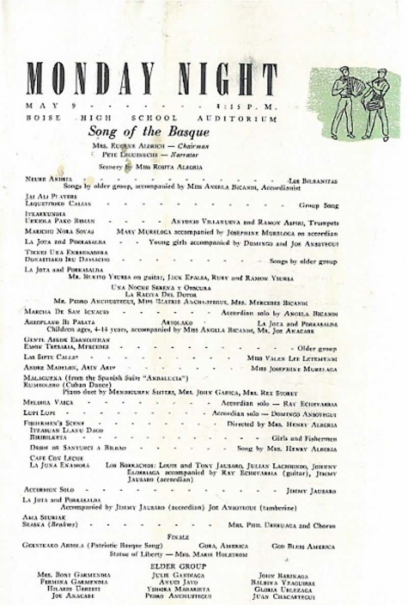 Programa del espectáculo «Song of the Basque» de 1949