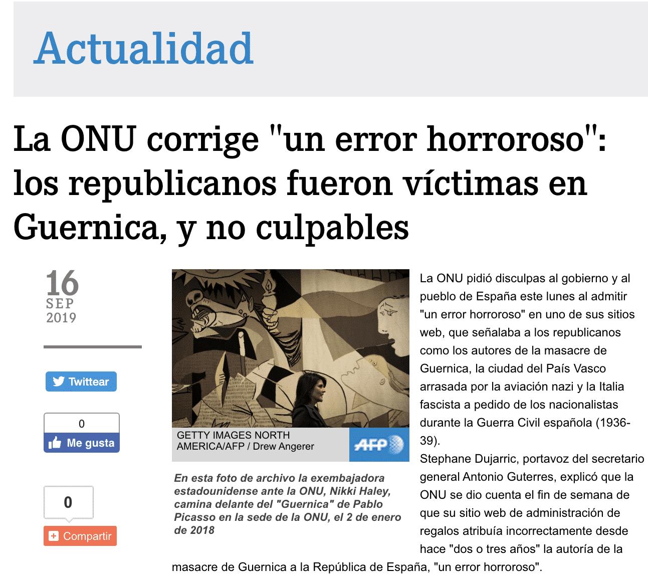 Noticia AFP sobre error de la ONU, en la que se denominan «nacionalistas» a los «rebeldes»