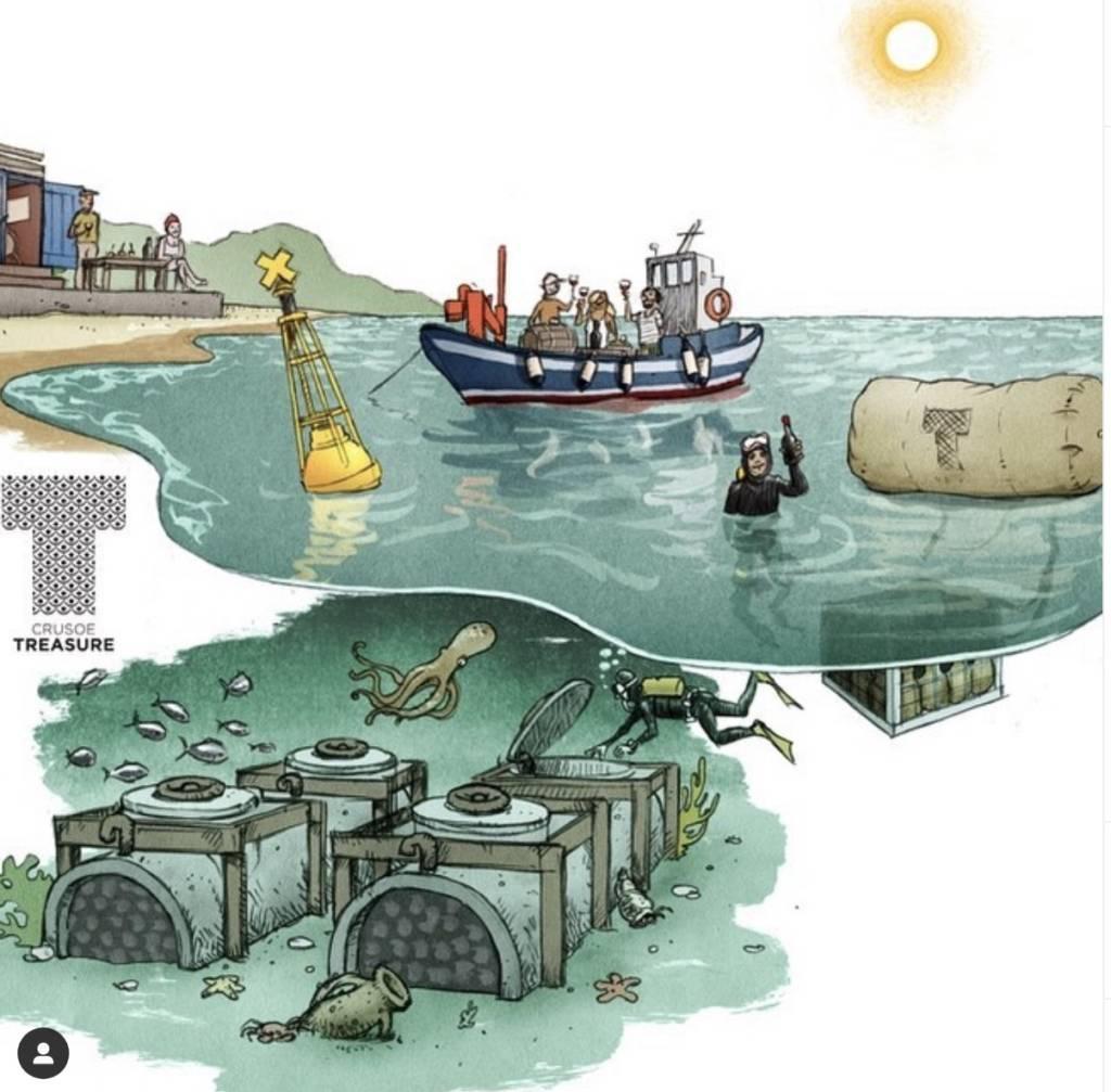 Representación de la bodega submarina Crusoe Treasure